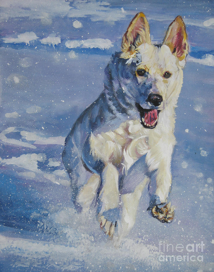 German shepherd white in snow painting