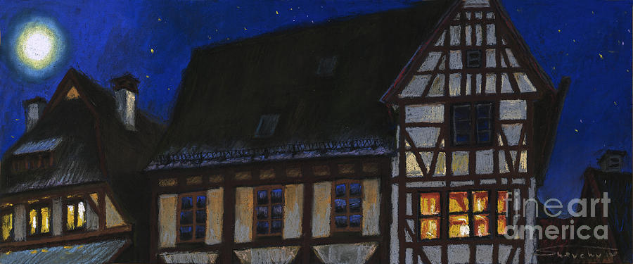 Germany Ulm Fischer Viertel Moonroofs Painting  - Germany Ulm Fischer Viertel Moonroofs Fine Art Print
