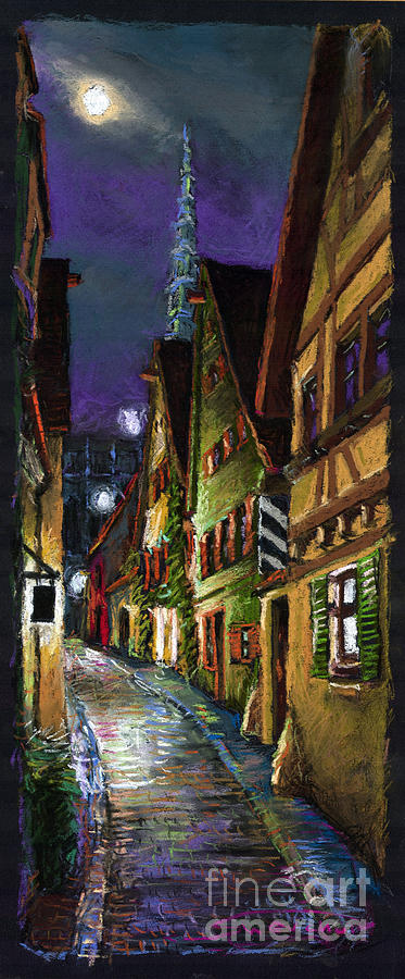 Germany Ulm Old Street Night Moon Painting  - Germany Ulm Old Street Night Moon Fine Art Print