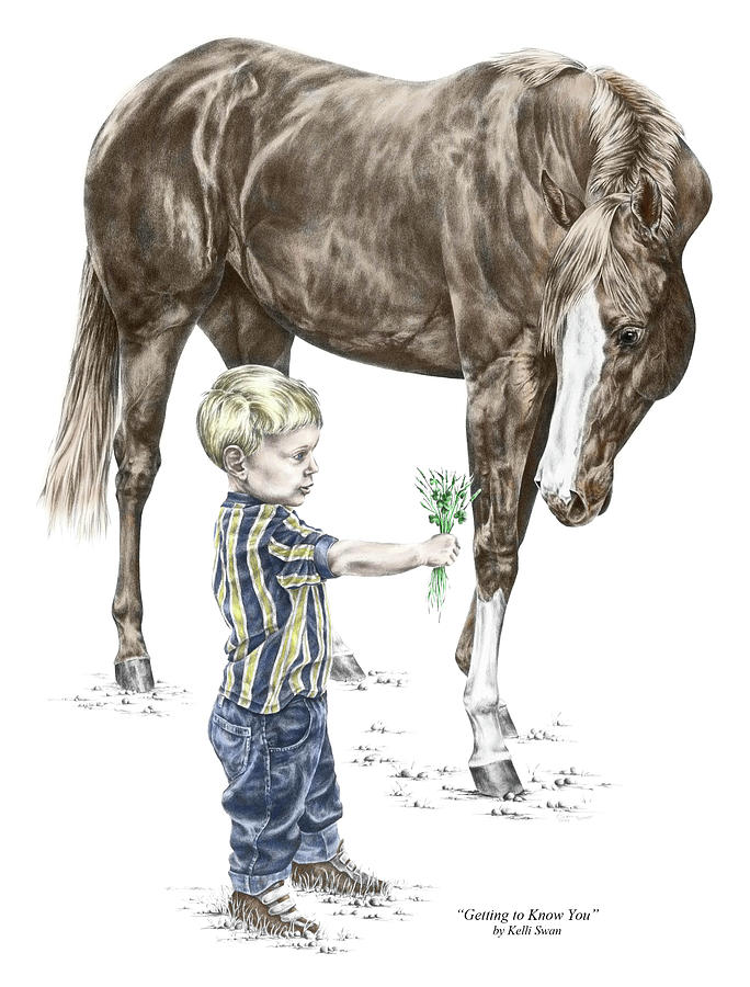 Getting To Know You - Boy And Horse Print Color Tinted Drawing  - Getting To Know You - Boy And Horse Print Color Tinted Fine Art Print