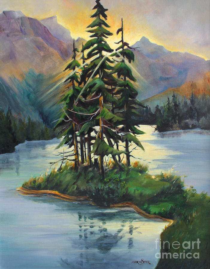 Ghost Island Near Jasper Painting  - Ghost Island Near Jasper Fine Art Print