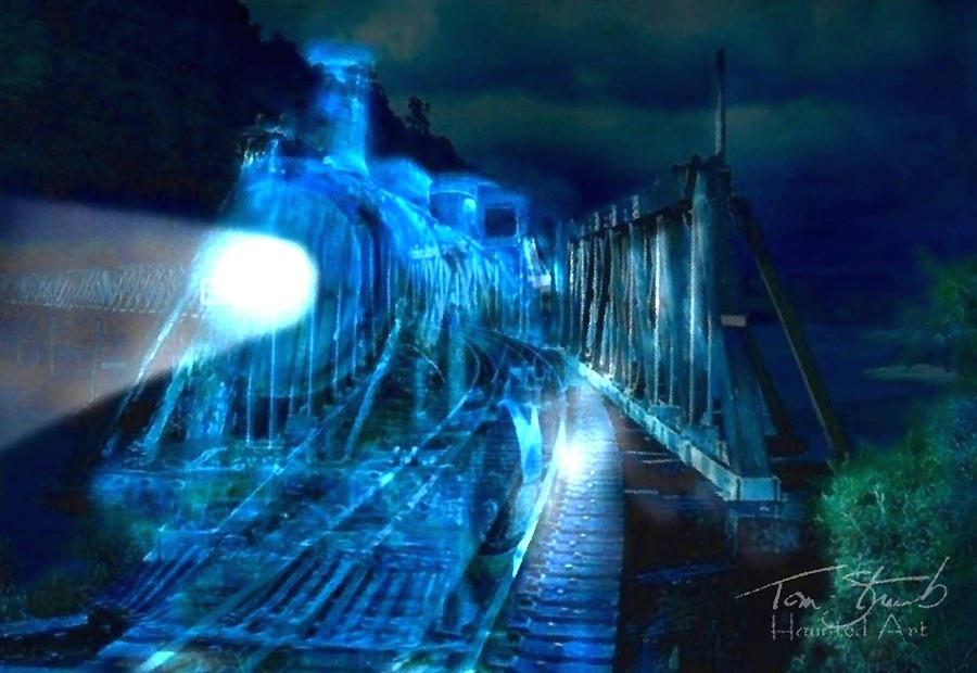 Ghost Train Bridge Digital Art