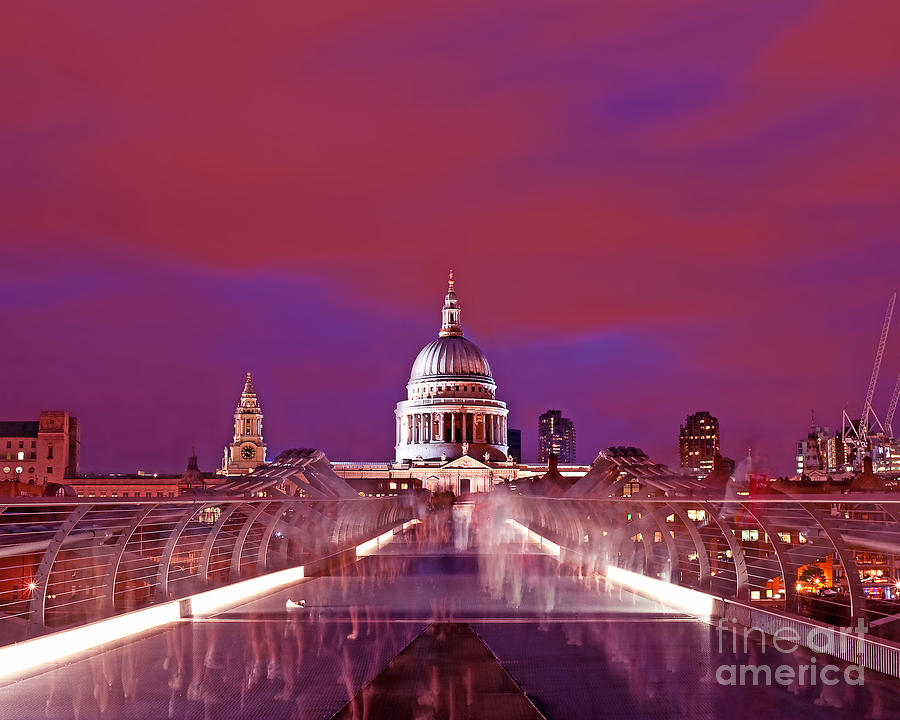 Ghostly Commuters Head To St Pauls On Millennium Bridge Photograph