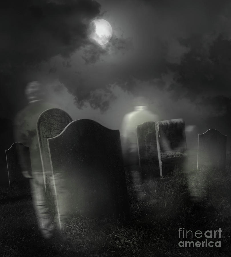 Ghosts Wandering In Old Cemetery  Photograph