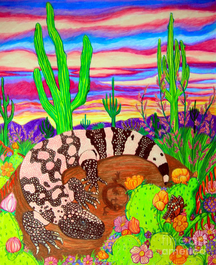 Gila Monster In Desert Drawing