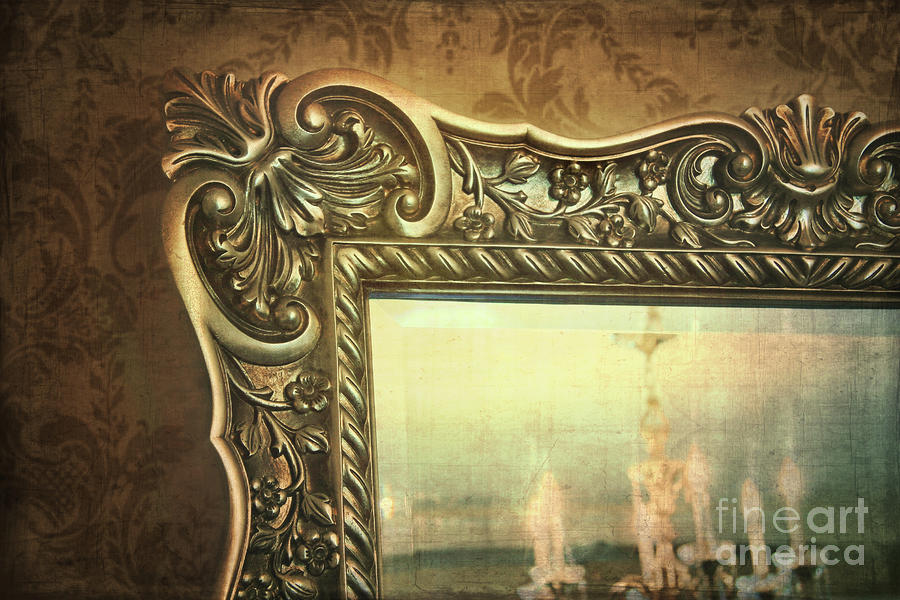 Gilded Mirror Reflection Of Chandelier Photograph