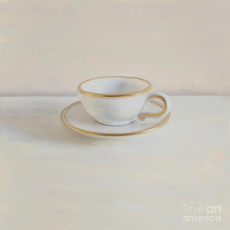 Gilt Cup On White Marble Photograph