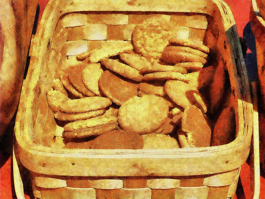 Ginger Snap Cookies In Basket Photograph  - Ginger Snap Cookies In Basket Fine Art Print