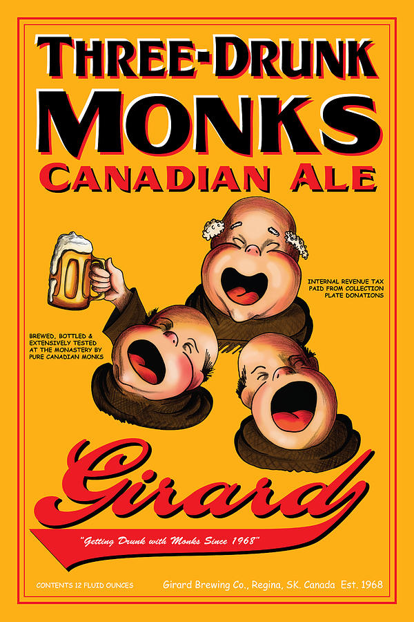 Girard Three Drunk Monks Drawing  - Girard Three Drunk Monks Fine Art Print