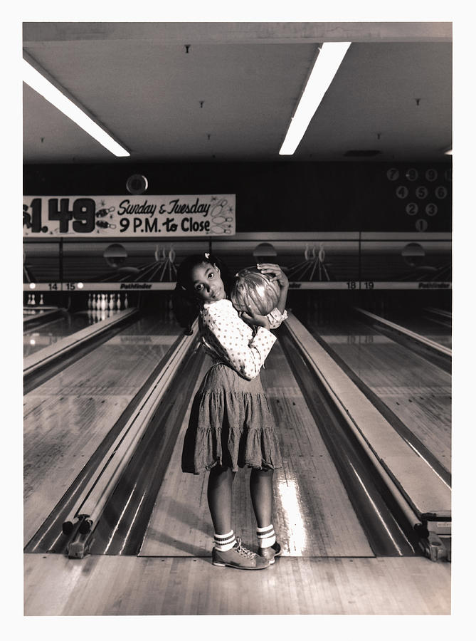 Girl (7-9) Holding Bowling Ball (toned B&w) Photograph