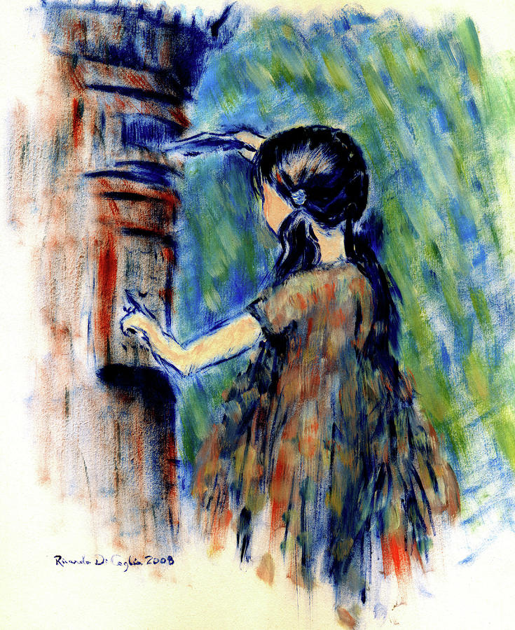 Girl And Letter Box Painting  - Girl And Letter Box Fine Art Print