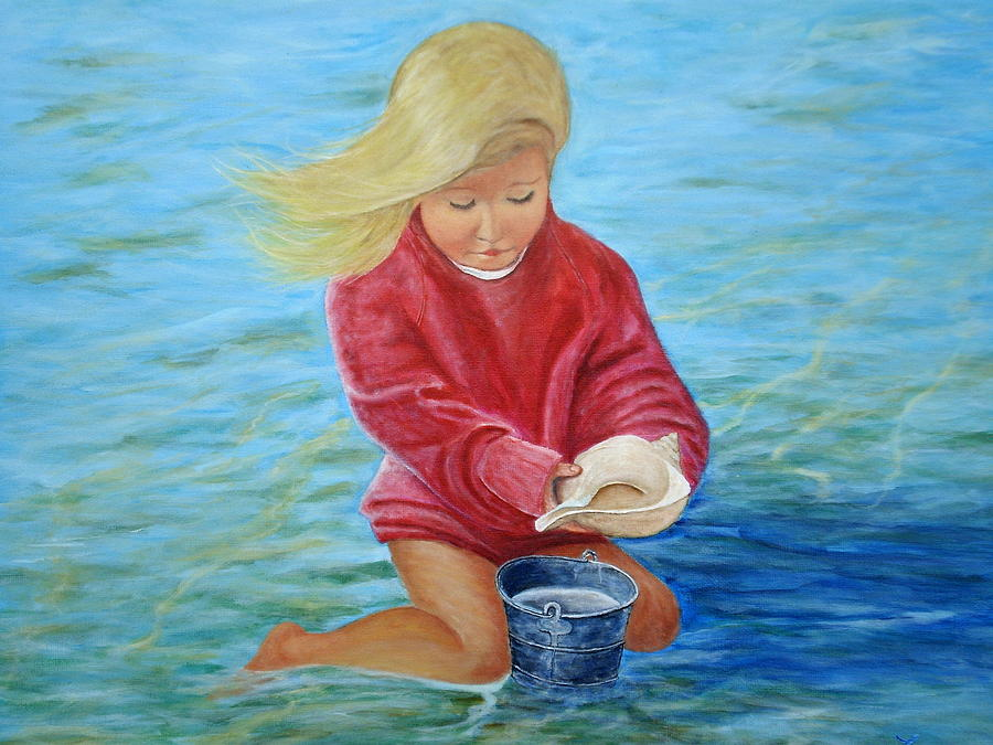 Girl At Beach #2 Painting