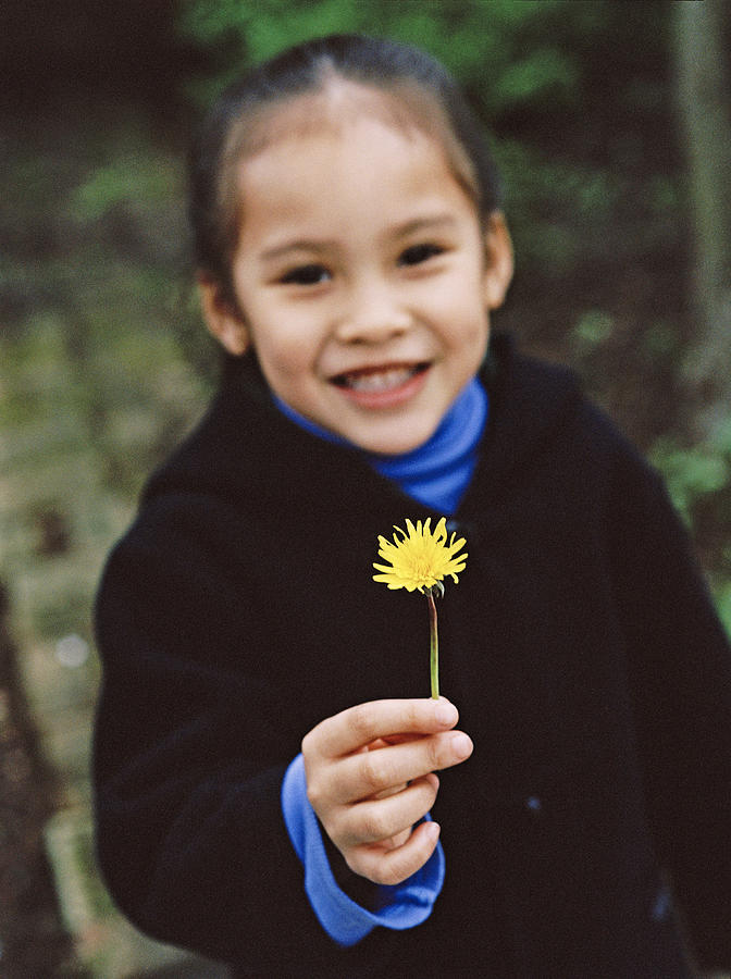 Flower Photograph - Girl Holding A Flower by Ian Boddy