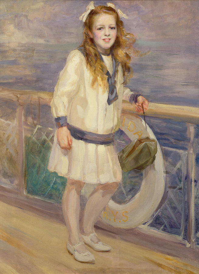Girl In A Sailor Suit Painting  - Girl In A Sailor Suit Fine Art Print