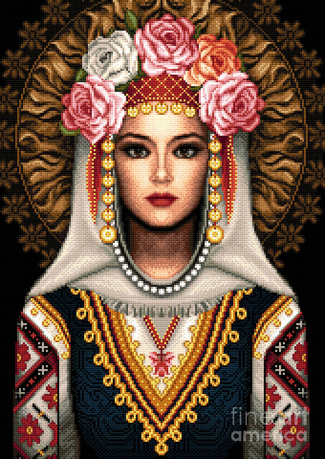 Girl In Bulgarian National Costume Tapestry - Textile  - Girl In Bulgarian National Costume Fine Art Print