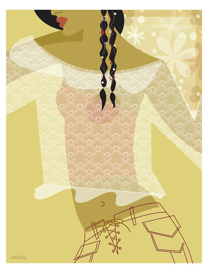 Profile Digital Art - Girl In Lace by Lisa Henderling