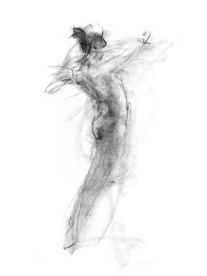 Girl In Movement Drawing  - Girl In Movement Fine Art Print