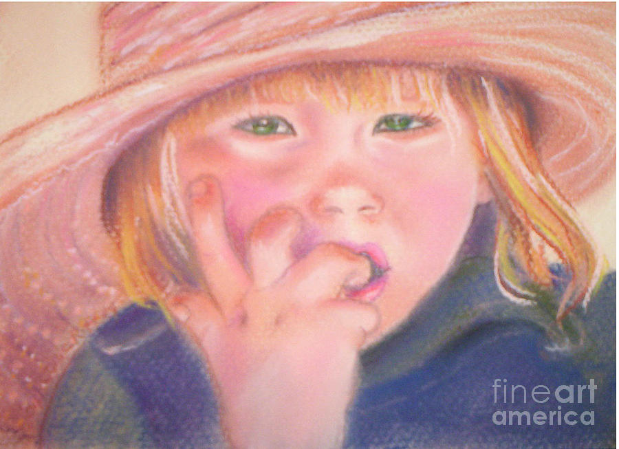 Girl In Straw Hat Pastel  - Girl In Straw Hat Fine Art Print