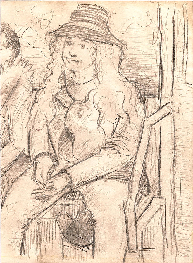 Girl On A Train Drawing