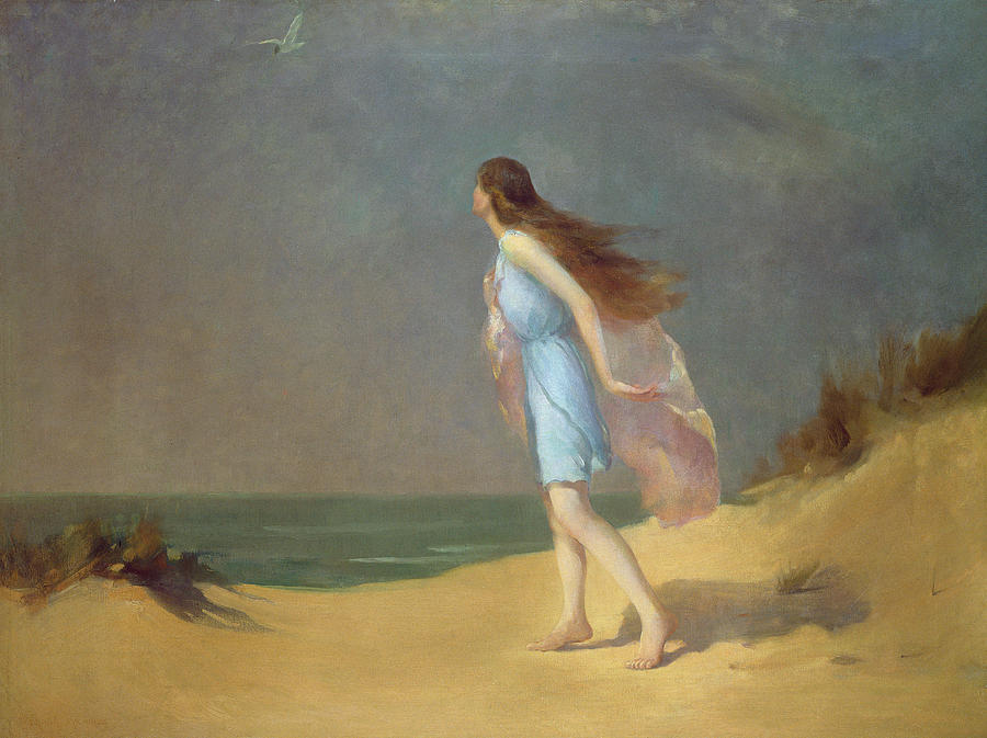 Girl On The Beach  Painting  - Girl On The Beach  Fine Art Print