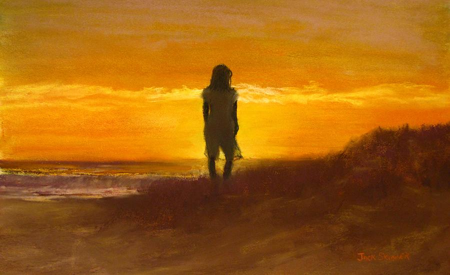 Girl On The Dunes Painting  - Girl On The Dunes Fine Art Print