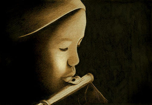 Girl Drawing - Girl Playing Flute by Cate McCauley