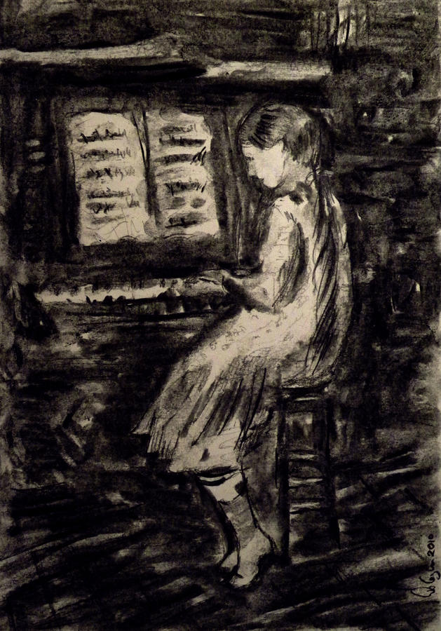 Girl Playing The Piano Painting  - Girl Playing The Piano Fine Art Print