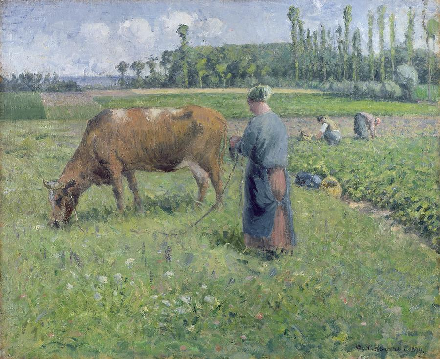 Girl Tending A Cow In Pasture Painting  - Girl Tending A Cow In Pasture Fine Art Print