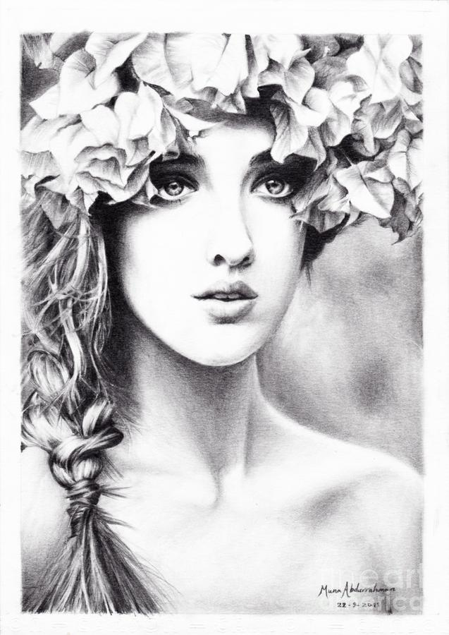 Art Drawing - Girl With A Floral Crown by Muna Abdurrahman