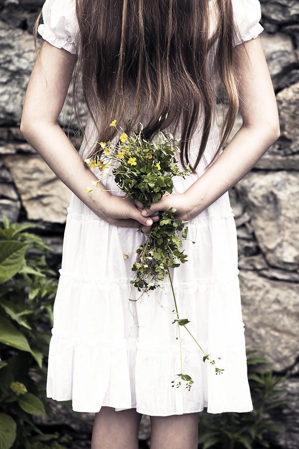 Girl With Flowers Photograph  - Girl With Flowers Fine Art Print