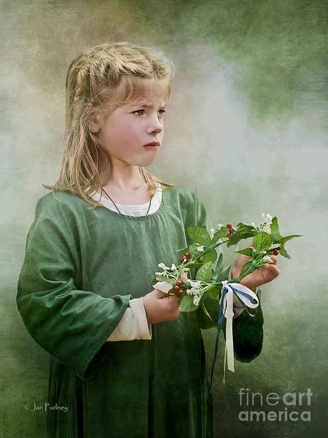 Girl With Garland Photograph  - Girl With Garland Fine Art Print