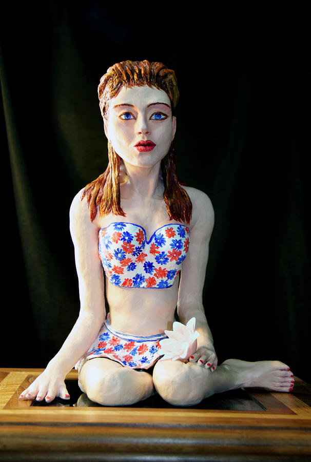 Girl With Lotus 2 Sculpture  - Girl With Lotus 2 Fine Art Print