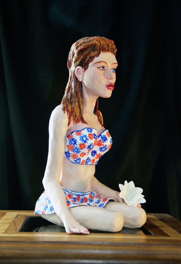 Girl With Lotus 3 Sculpture