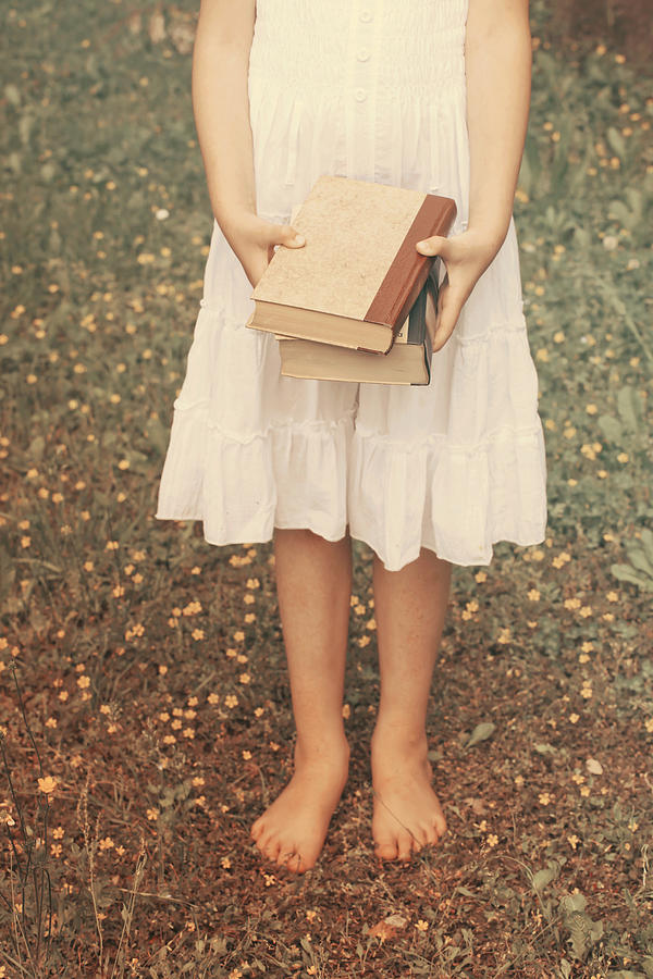Girl Photograph - Girl With Old Books by Joana Kruse