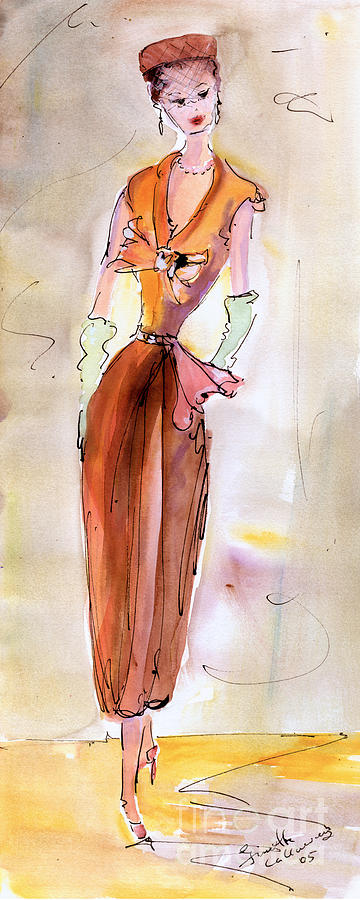 Vintage Fashions Painting - Girl With Pillbox Hat Vintage Fashion  by Ginette Callaway