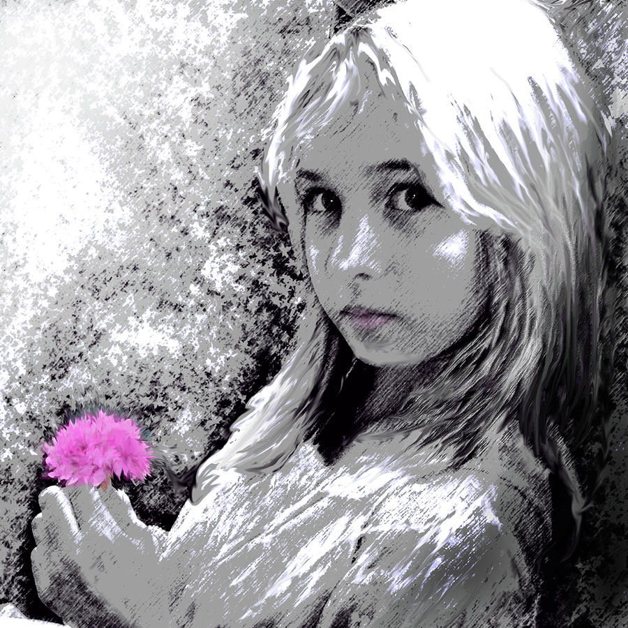 Girl With Pink Flower Painting