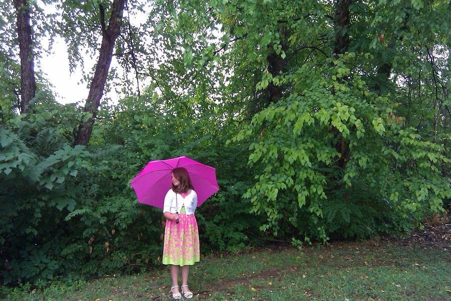Girl With Pink Umbrella Photograph