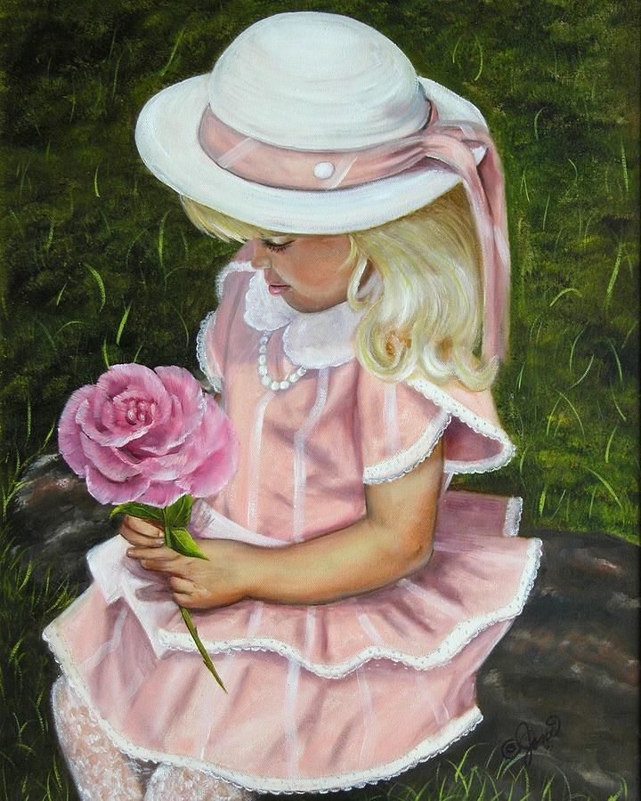 Girl With Rose Painting