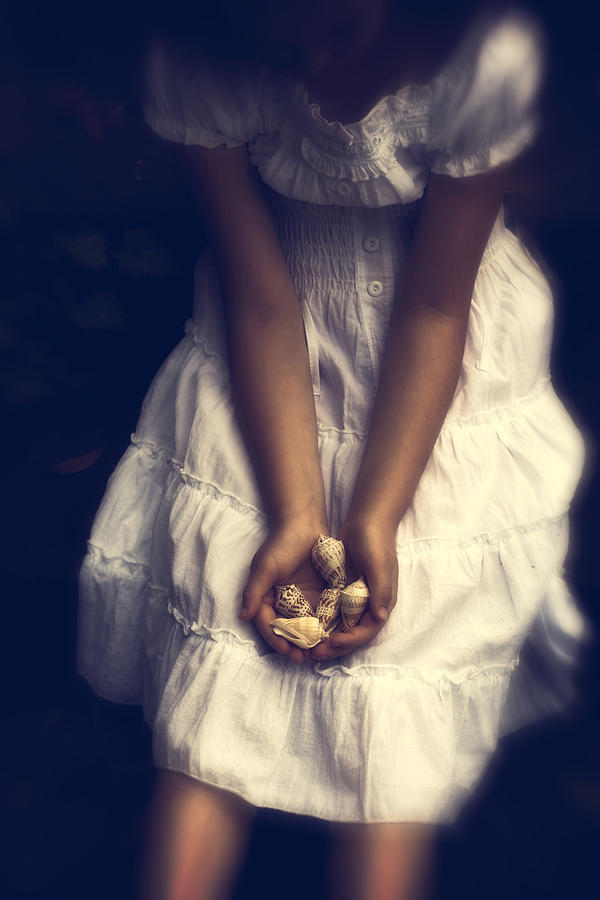 Girl With Sea Shells Photograph  - Girl With Sea Shells Fine Art Print