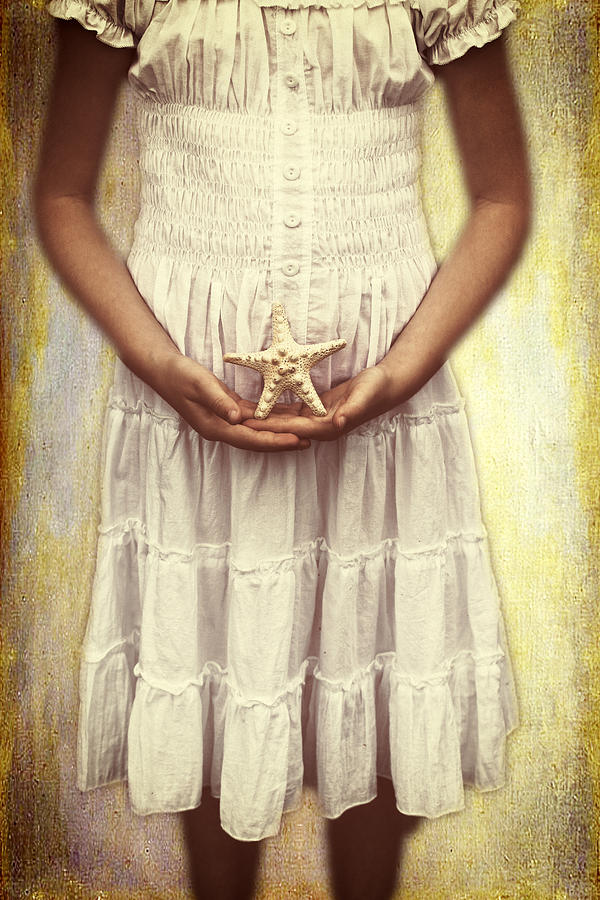 Girl With Starfish Photograph  - Girl With Starfish Fine Art Print