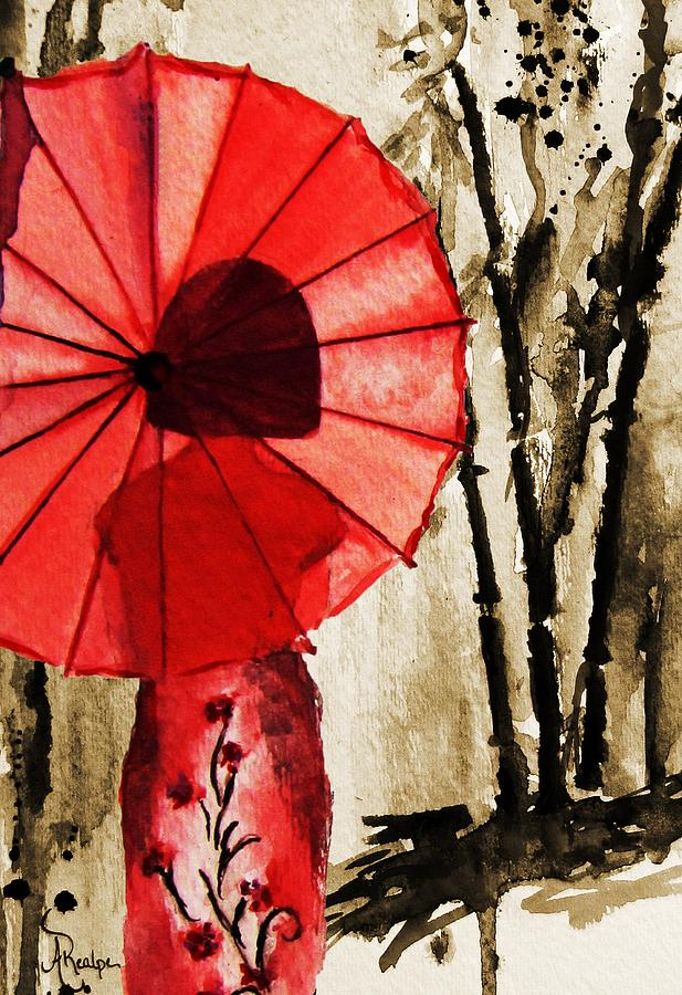 Girl with the red umbrella by andrea realpe for Painting red umbrella