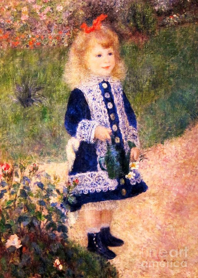 Girl With Watering Can Painting  - Girl With Watering Can Fine Art Print