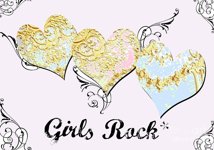 Girls Rock Hearts Digital Art  - Girls Rock Hearts Fine Art Print