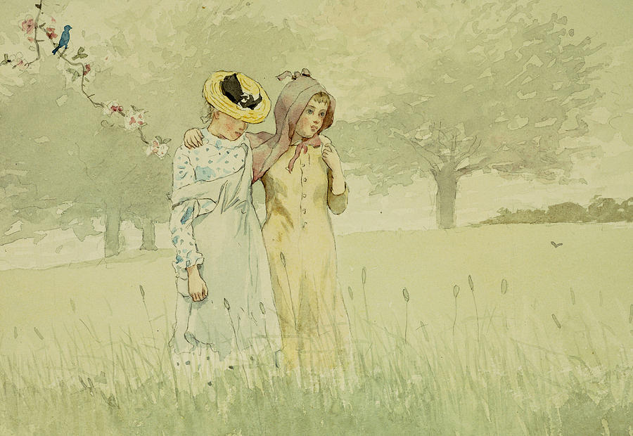 Girls Strolling In An Orchard Painting