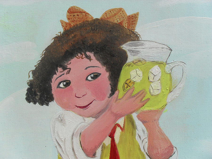 Girls With Lemonade Painting  - Girls With Lemonade Fine Art Print