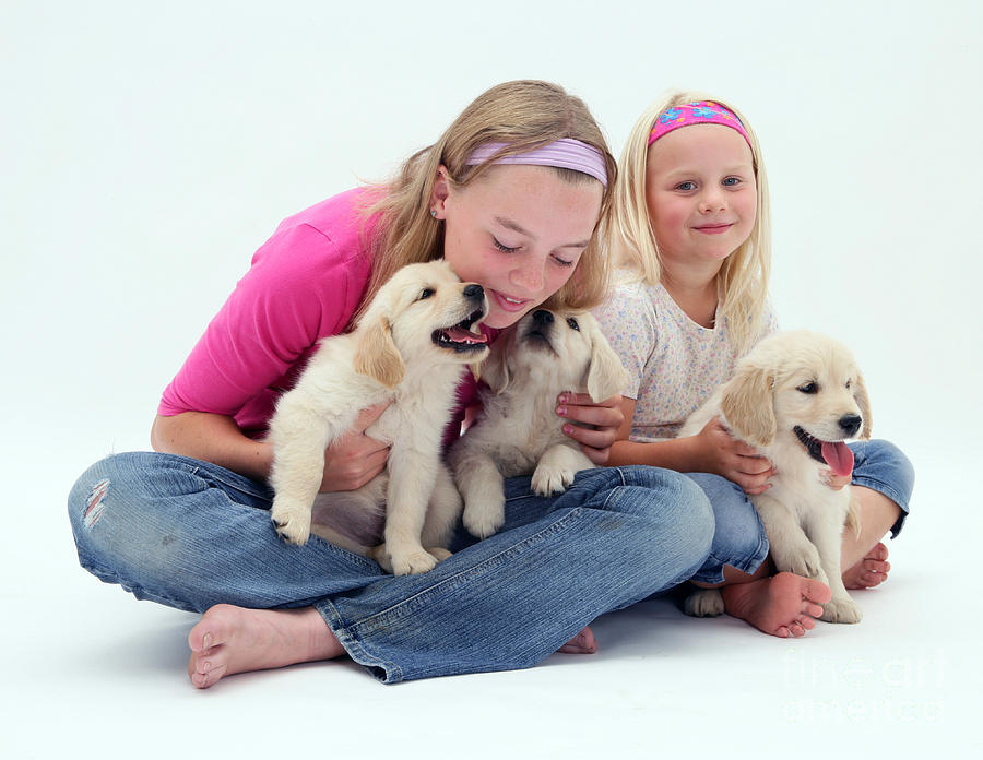 Girls With Puppies Photograph  - Girls With Puppies Fine Art Print