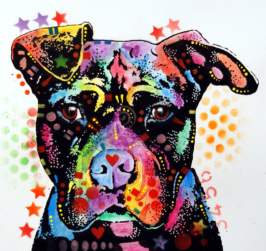 Give Love Pitbull Painting  - Give Love Pitbull Fine Art Print