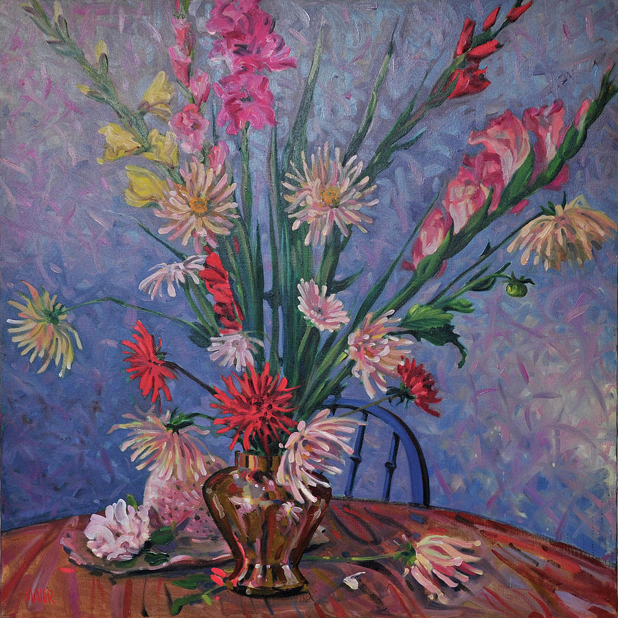 Gladiolas And Dahlias Painting