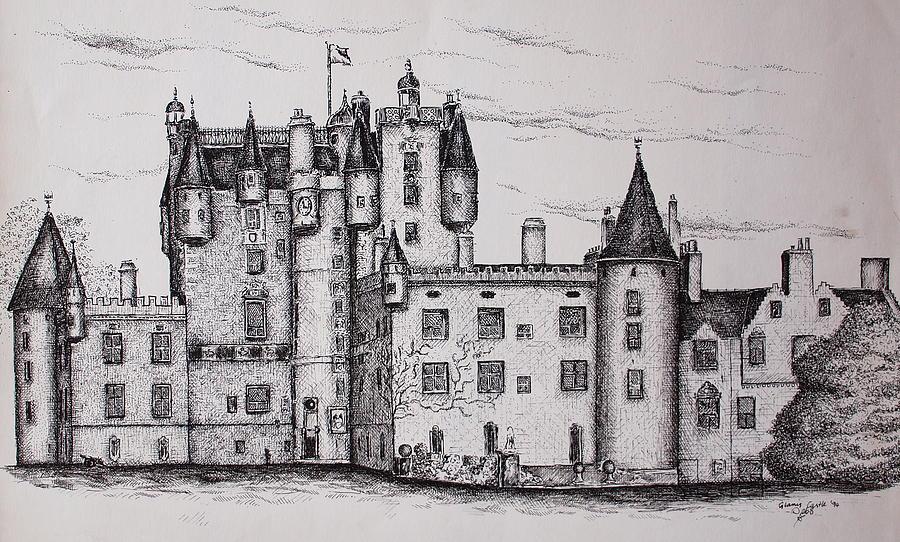 Glamis Drawing - Glamis Castle by Sheep McTavish