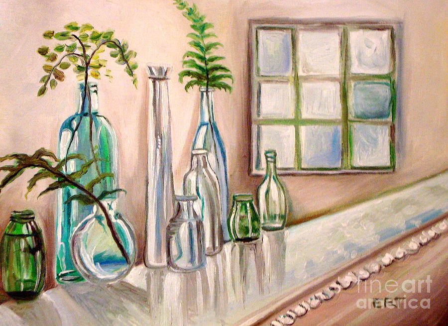 Glass And Ferns Painting  - Glass And Ferns Fine Art Print